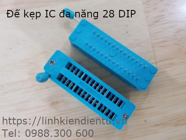 Đế kẹp IC đa năng 28 chân (28DIP) màu xanh