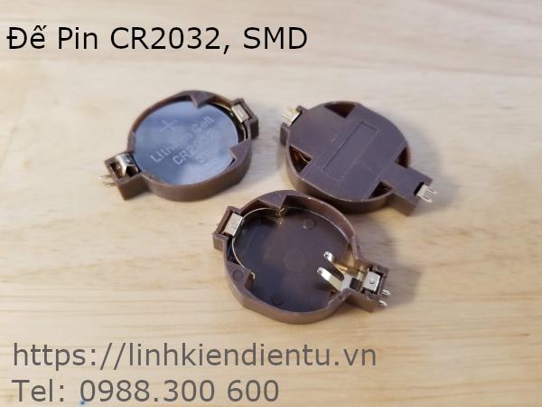 Đế Pin CR2032 BS-2032-10 (BS-10) SMD, chân mạ vàng
