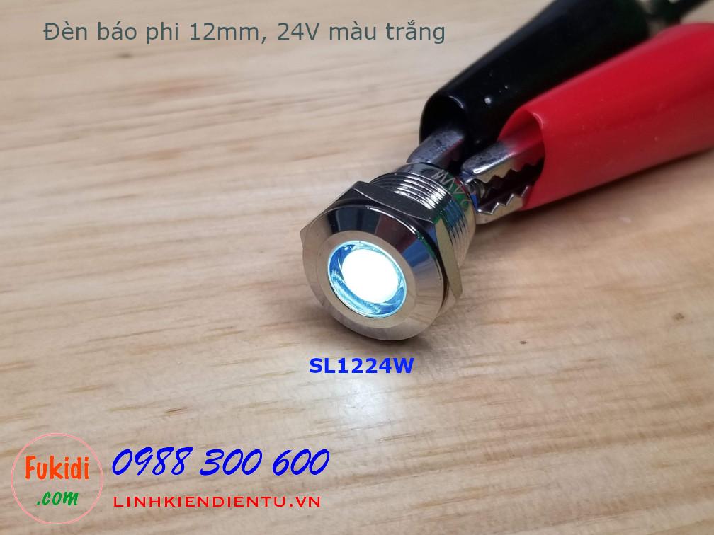 Đèn LED báo nguồn phi 12mm vỏ kim loại, 12-24V màu trắng SL1224W