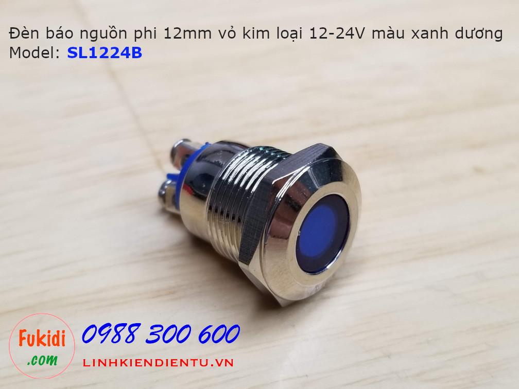 Đèn báo nguồn phi 12mm vỏ inox chân bắt vít, 12-24V màu xanh dương SL1224BV