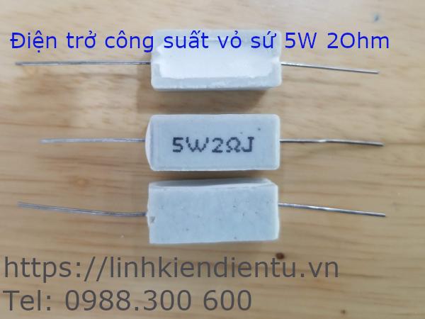 5W2RJ Điện trở công suất 5W 2 Ohm, sai số 5%, vỏ sứ