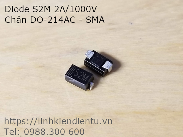 Diode S2M 2A 1000V DO-214AC
