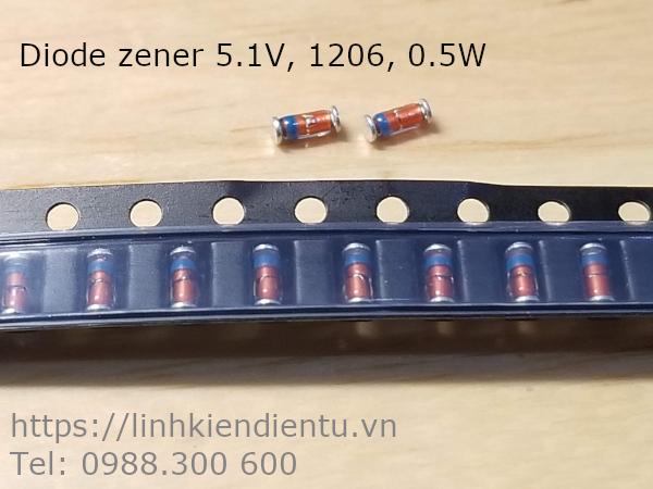Diode zener ổn áp 5V1, 5.1v chân SMD 1206 0.5W