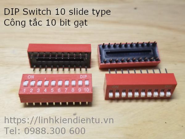 DIP Switch 10 slide type - Công tắc 10 bit gạt