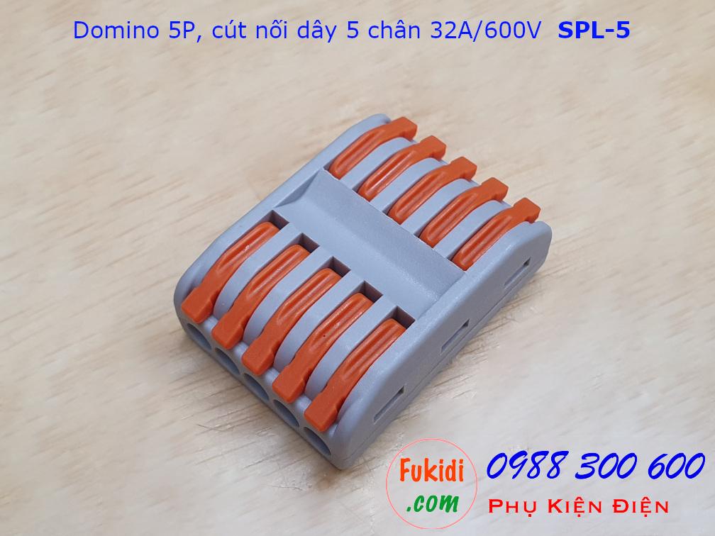 Domino 5P, cút nối dây 5 chân SPL-5 nối 5 cặp dây 0.08-4mm2, công suất 32A/600V