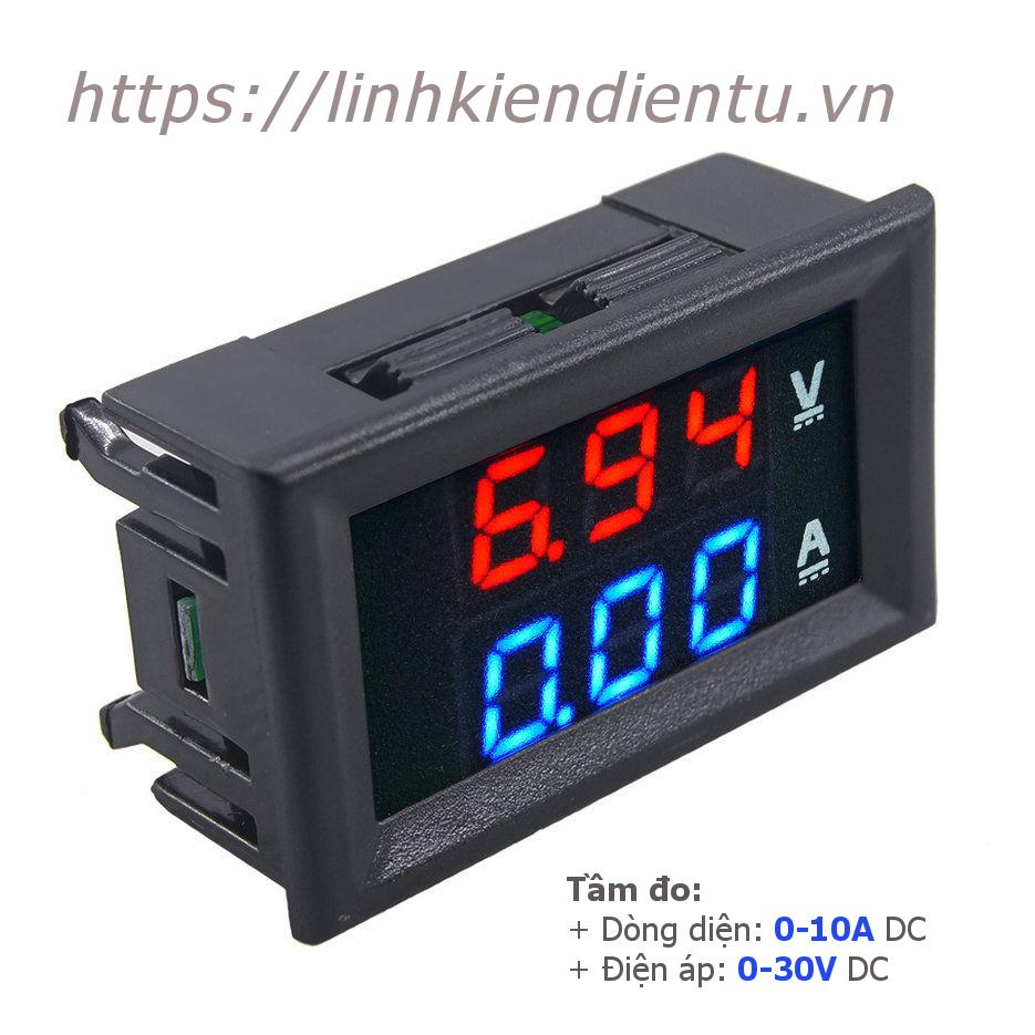 Đồng hồ đo dòng điện từ 0-10A và điện áp từ 0-30V hiển thị LED