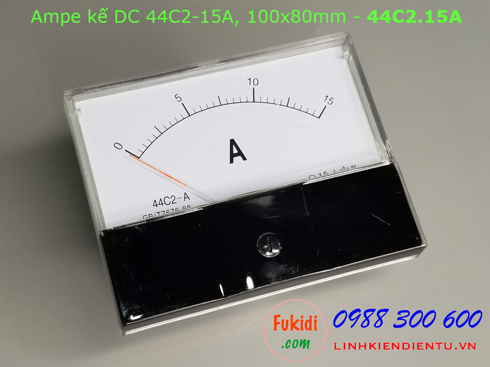 Ampe kế DC 44C2 15A chỉ thị bằng kim, kích thước 100x80mm - 44C2.15A