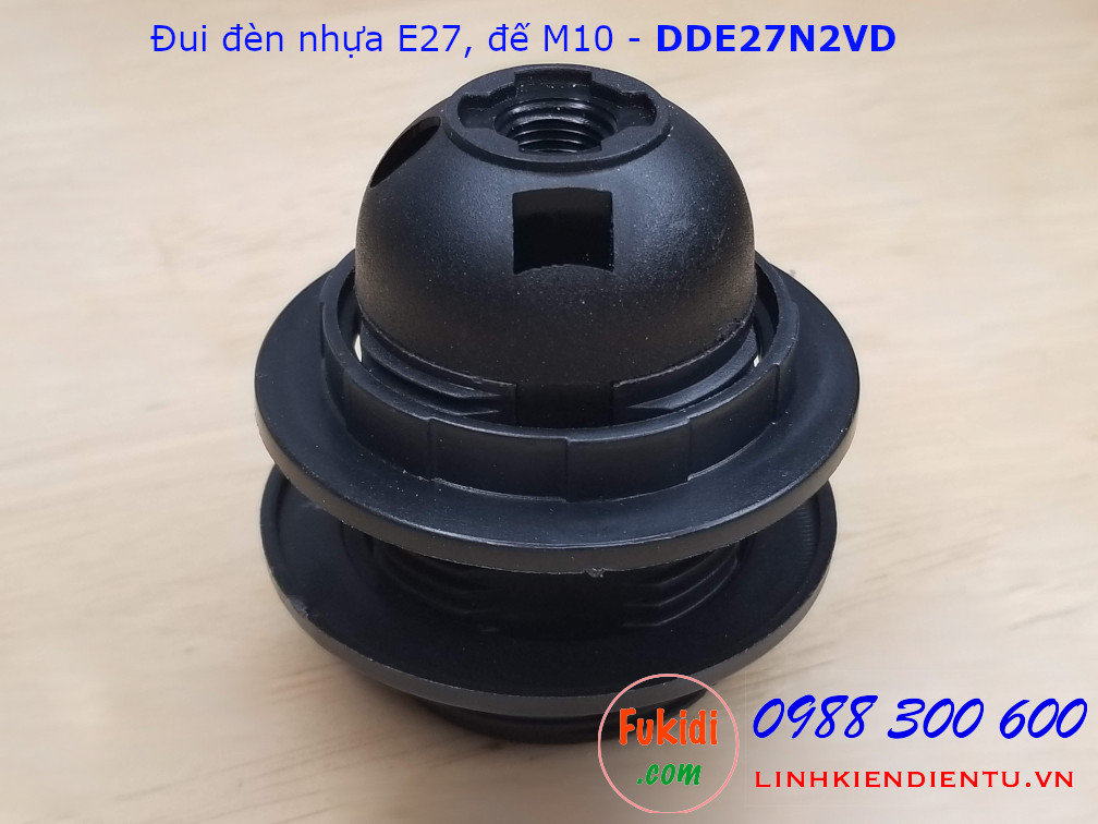 Đui đèn nhựa E27 hai vòng gắn chóa, đế M10 màu đen - DDE27N2VD