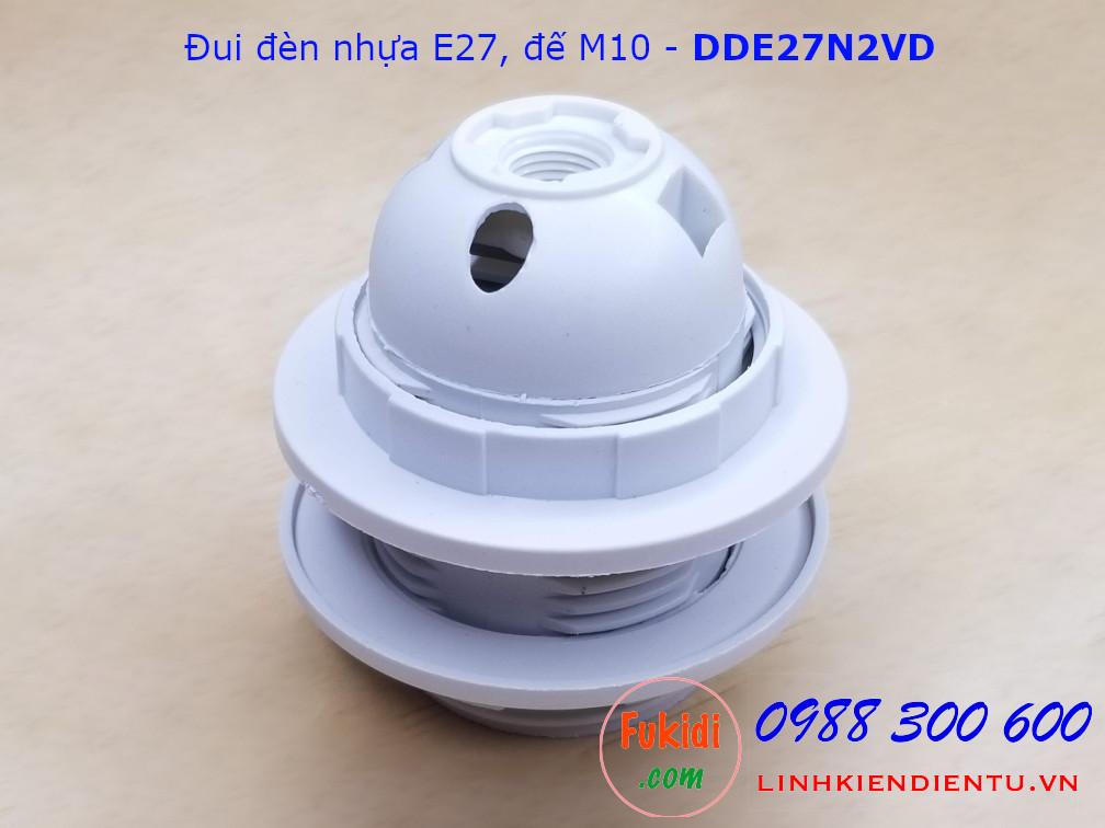 Đui đèn nhựa E27 hai vòng gắn chóa đế M10 màu trắng - DDE27N2VT