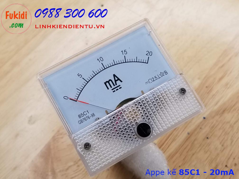 Ampe kế DC 20mA 85C1 đo dòng điện DC với tầm đo từ 0 đến 20mA