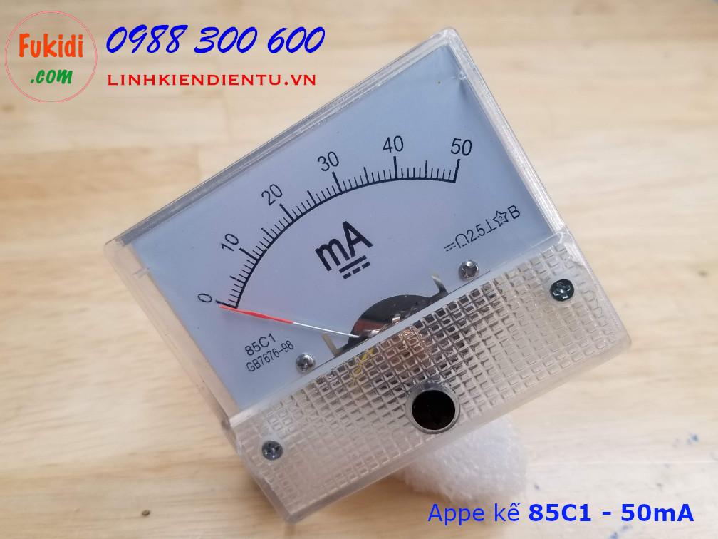 Ampe kế DC 50mA 85C1 đo dòng điện DC từ 0 đến 50mA - 85C1.50MA