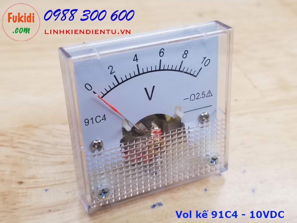 Vôn kế DC 91C4 tầm đo 0-10V, kích thước 45x45x36mm