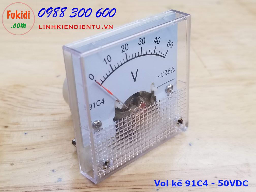 Vôn kế DC 91C4 tầm đo 0-50V, kích thước 45x45x36mm