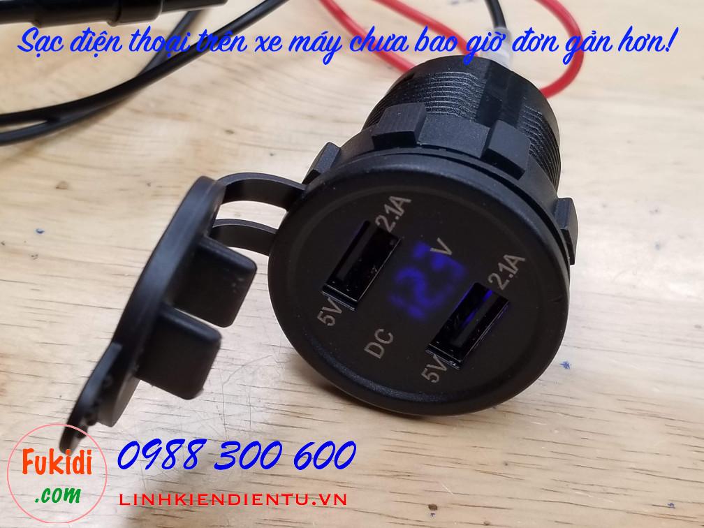 Bộ sạc điện thoại cho xe máy, sạc điện thoại ngõ ra 5V 2.1A từ điện áp 12V, 24V SA21V