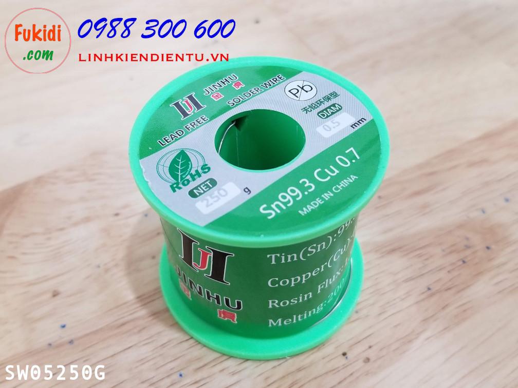 Cuộn dây thiếc hàn, chì hàn JINHU 0.5mm 250g  Sn99.3 Cu0.7 SW05250G