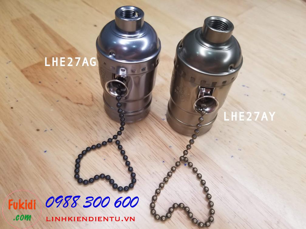 LHE27AG Đui đèn nhôm cao cấp, kèm công tắc dây kéo, loại đui E26, E27 kiểu vặn màu đen nâu