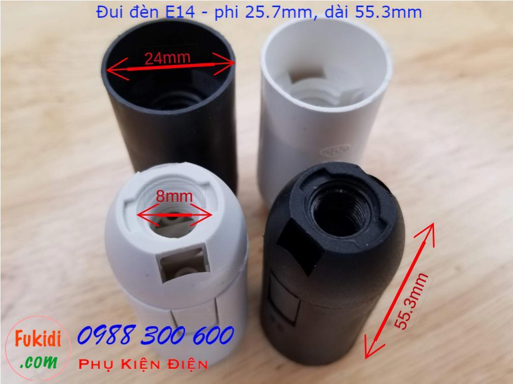 Chui đèn nhựa E14 thân mảnh, có hai màu trắng và đen