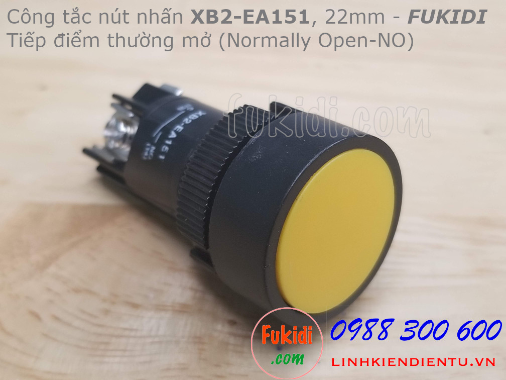 Nút nhấn nhả XB2-EA151 22mm màu vàng, thường mở (NO)