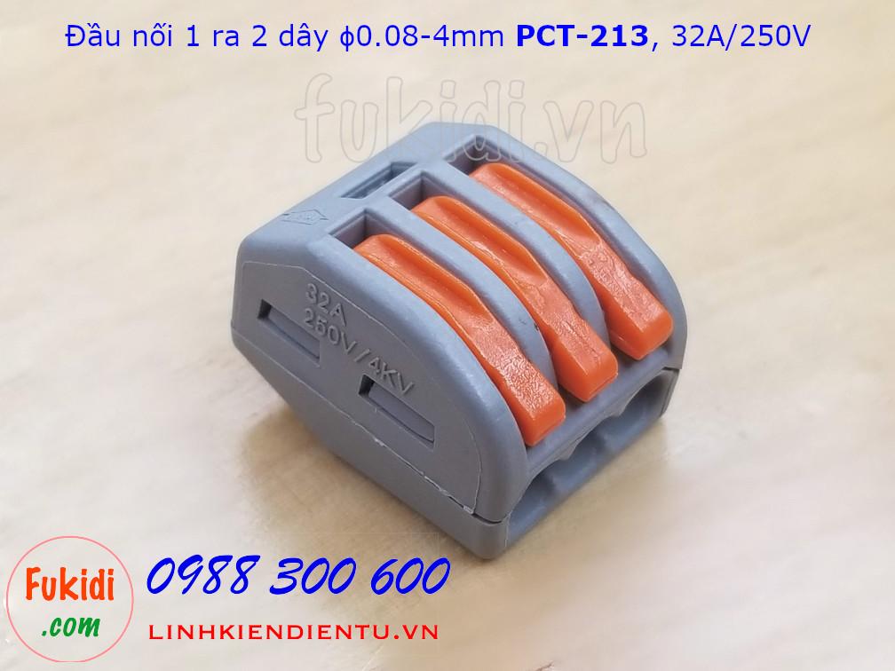 Cút nối dây, đầu nối một ra hai dây phi 0.08-4mm PCT-213  32A/250V