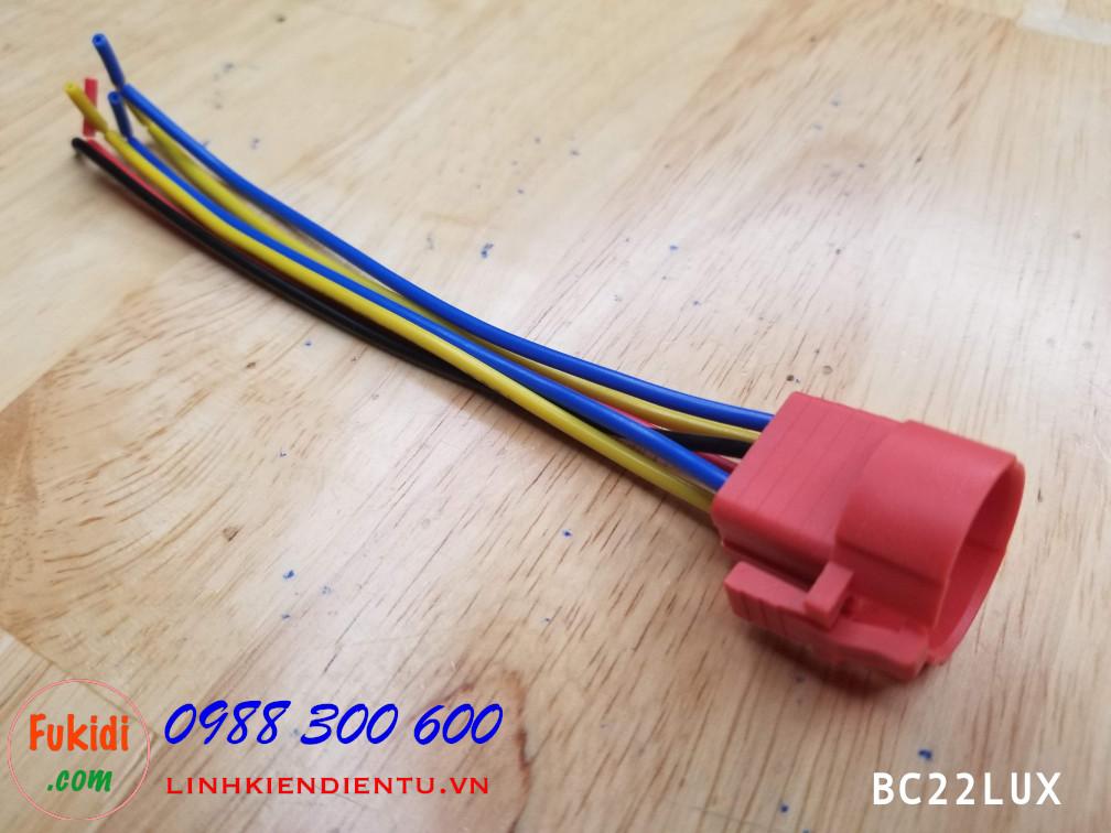 BC22LUX Đế nối dây cho nút bấm vỏ kim loại 22mm, đế màu đỏ