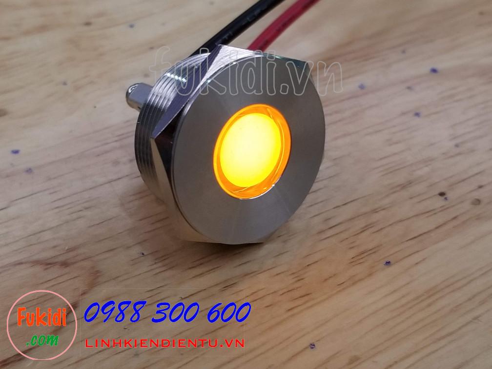 Đèn LED báo nguồn vỏ inox phi 25mm không thấm nước, điện áp 12V, màu vàng