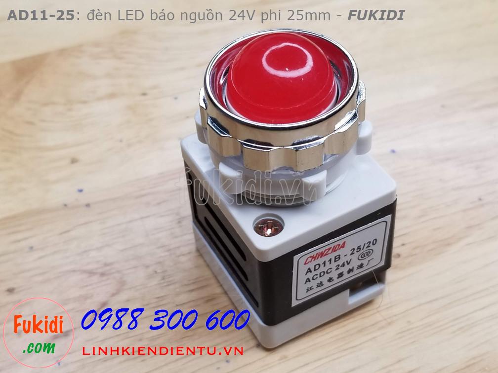 AD11-25 đèn LED báo nguồn phi 25mm điện áp 24V màu đỏ