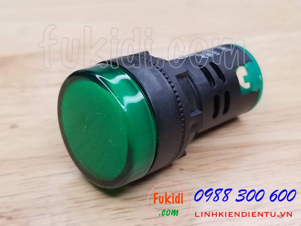 Đèn LED báo nguồn 220V phi 22mm màu xanh lá AD16-22DS