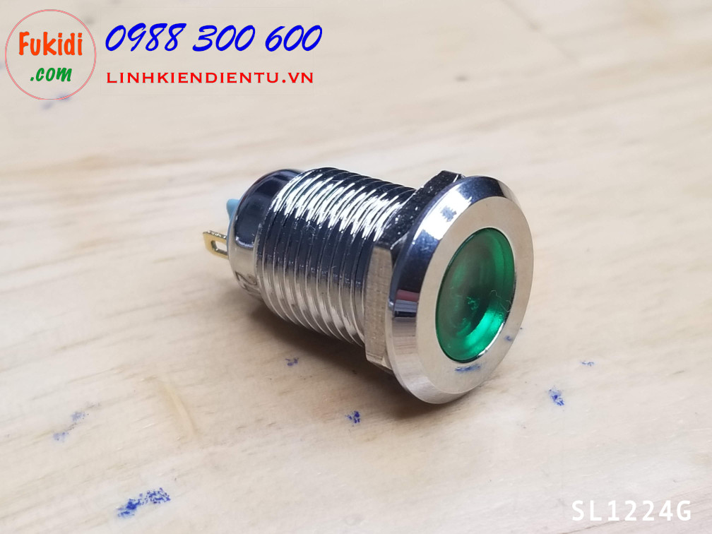 Đèn LED báo nguồn 24V, phi 12mm vỏ kim loại màu xanh SL1224G