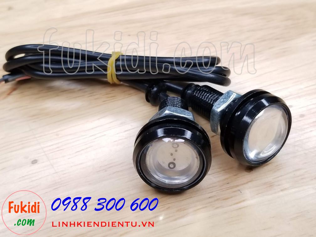 Bộ 2 cái đèn xi nhan cúc áo LED phi 23mm, điện áp 12V sáng màu trắng