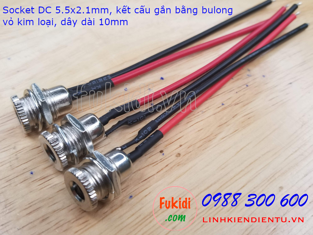 Socket cắm nguồn DC DC099 loại 5.5x2.1mm, vỏ kim loại, công suất 5A - DC099W