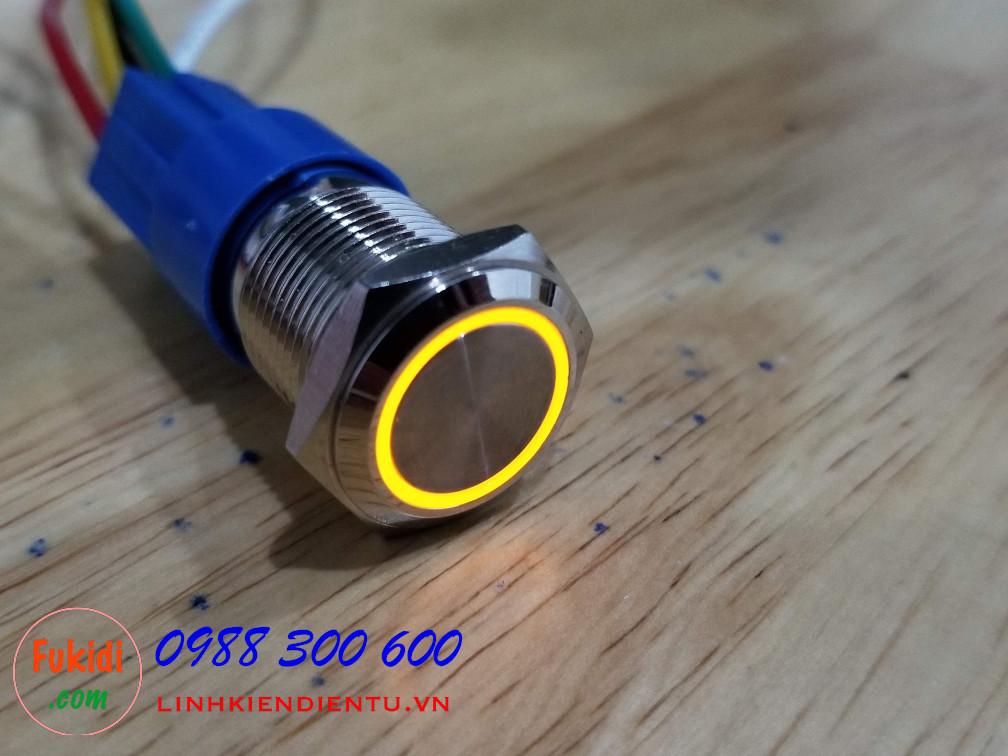 BN1624Y Nút nhấn nhả có đèn, vỏ inox, phi 16mm, 24v đèn LED màu vàng