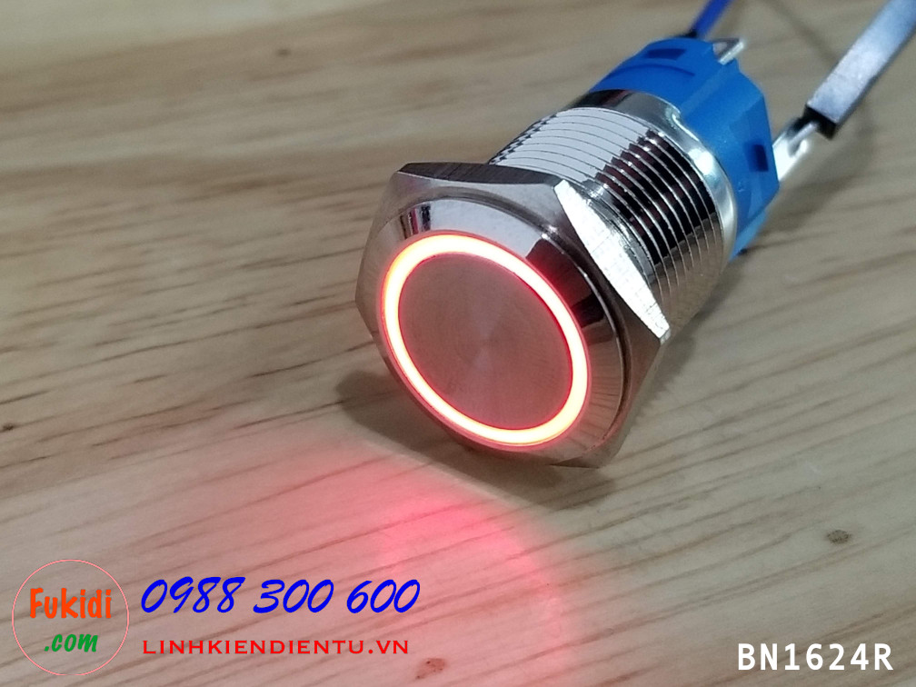 Nút nhấn nhả phi 16mm 220V vỏ kim loại có đèn sáng đỏ - BN16220R