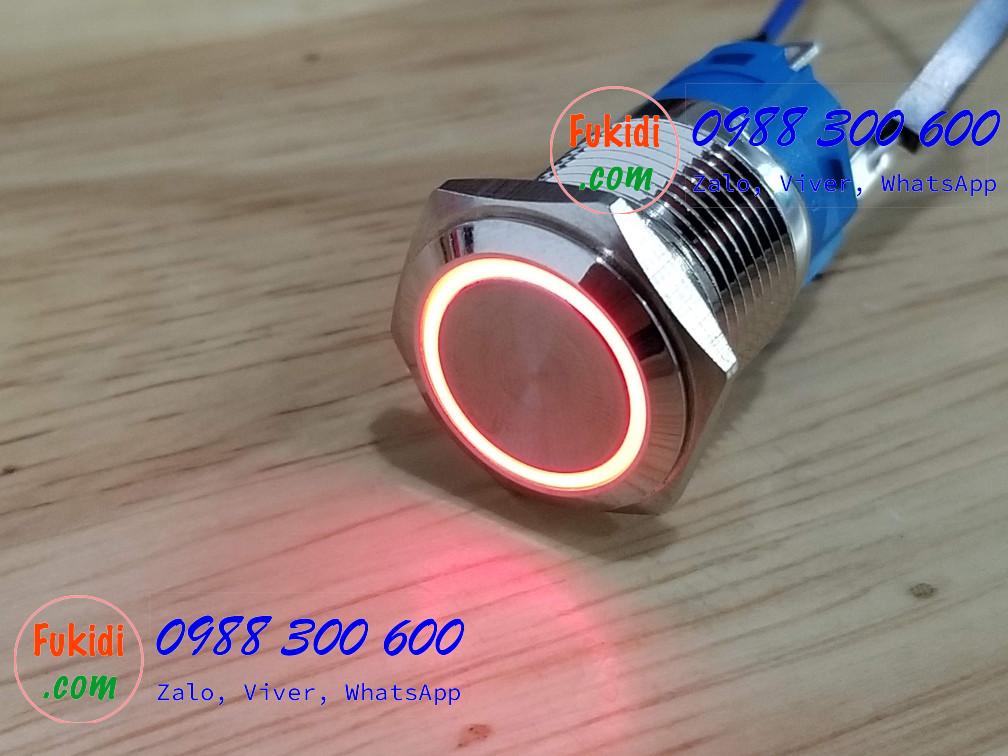 BN1624R Nút nhấn nhả có đèn, vỏ inox, phi 16mm, 24v đèn LED màu đỏ