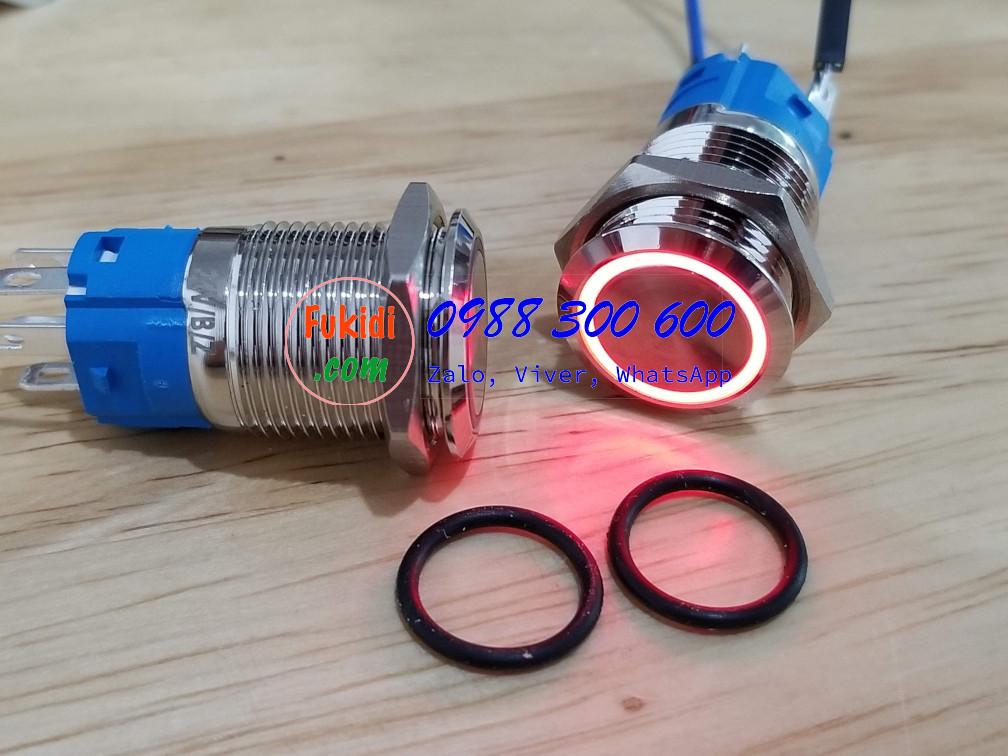 BN1624LR Nút nhấn giữ có đèn, vỏ inox, phi 16mm, 24v đèn LED màu đỏ