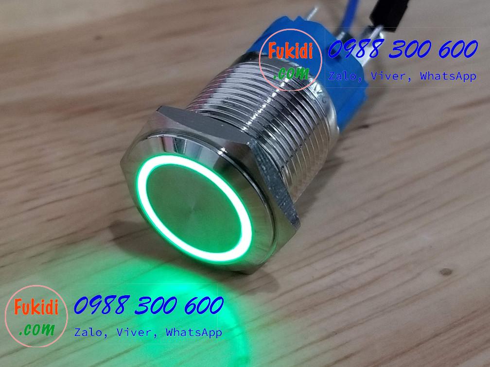 BN1624G Nút nhấn nhả có đèn, vỏ inox, phi 16mm, 24v đèn LED màu xanh lá