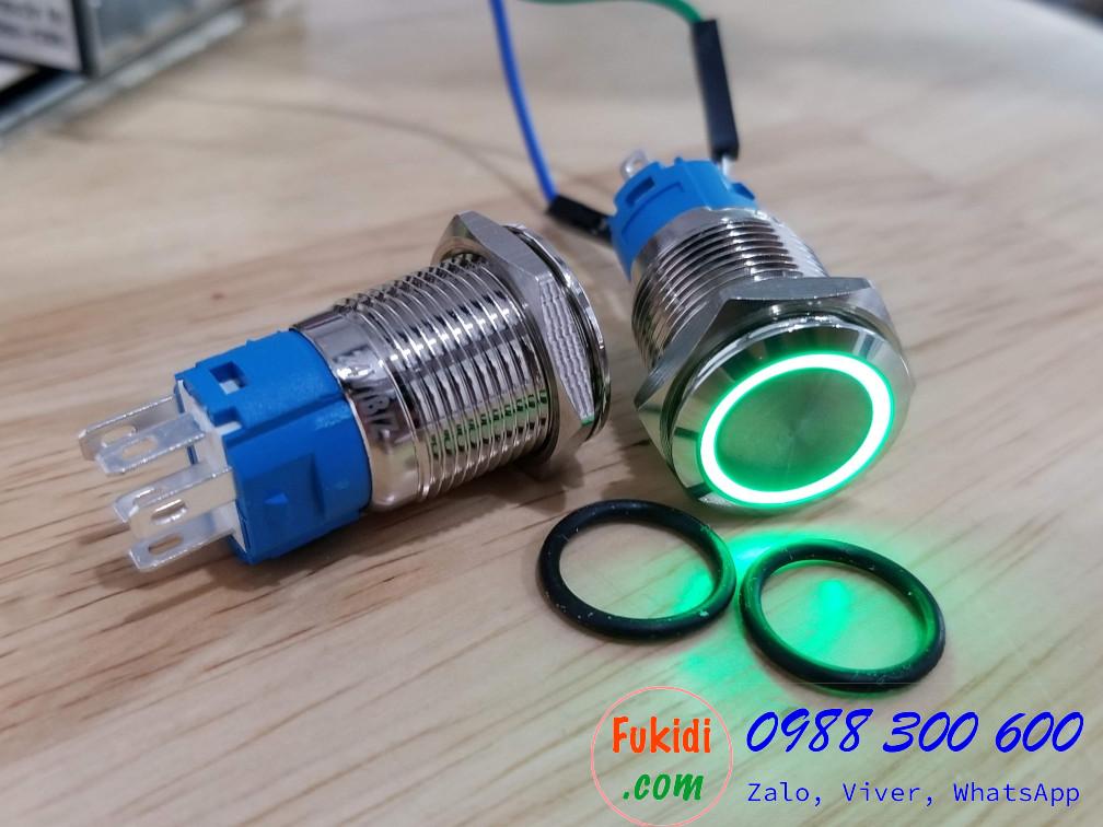 Nút nhấn giữ có đèn, vỏ inox, phi 16mm, 24v đèn LED màu xanh lá