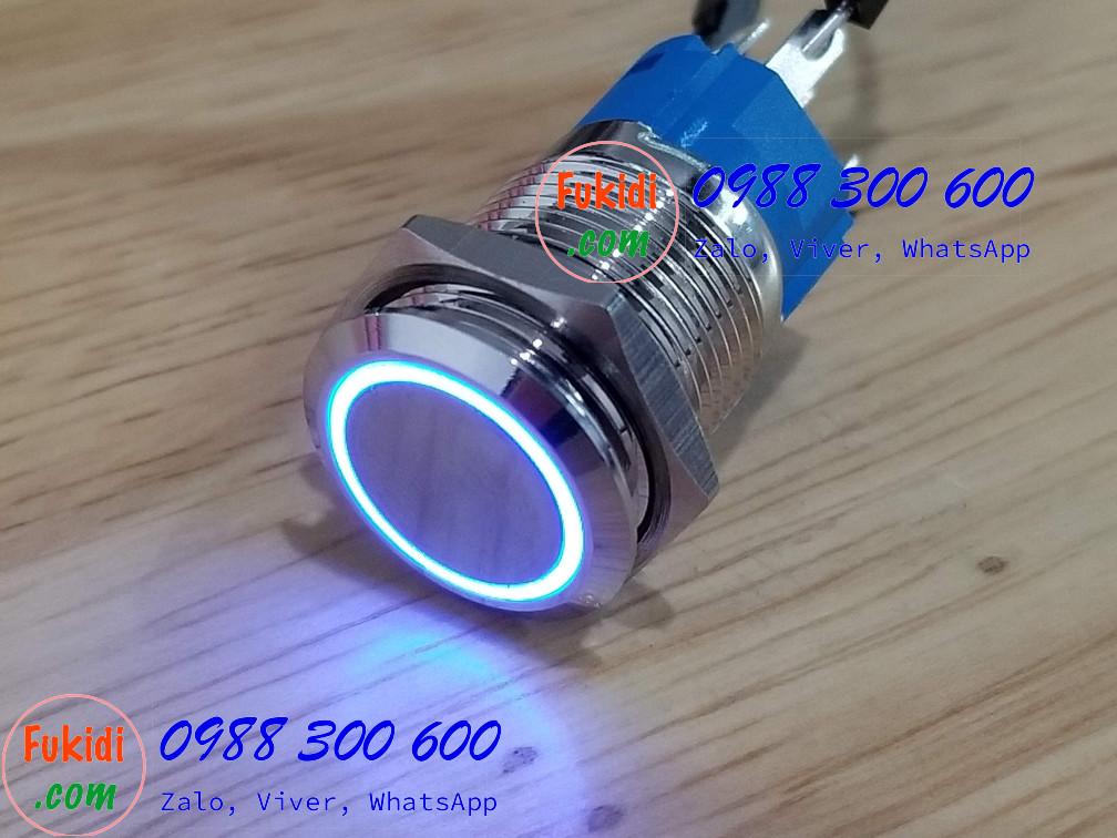 BN1624B Nút nhấn nhả có đèn, vỏ inox, phi 16mm, 24v đèn LED màu xanh lục