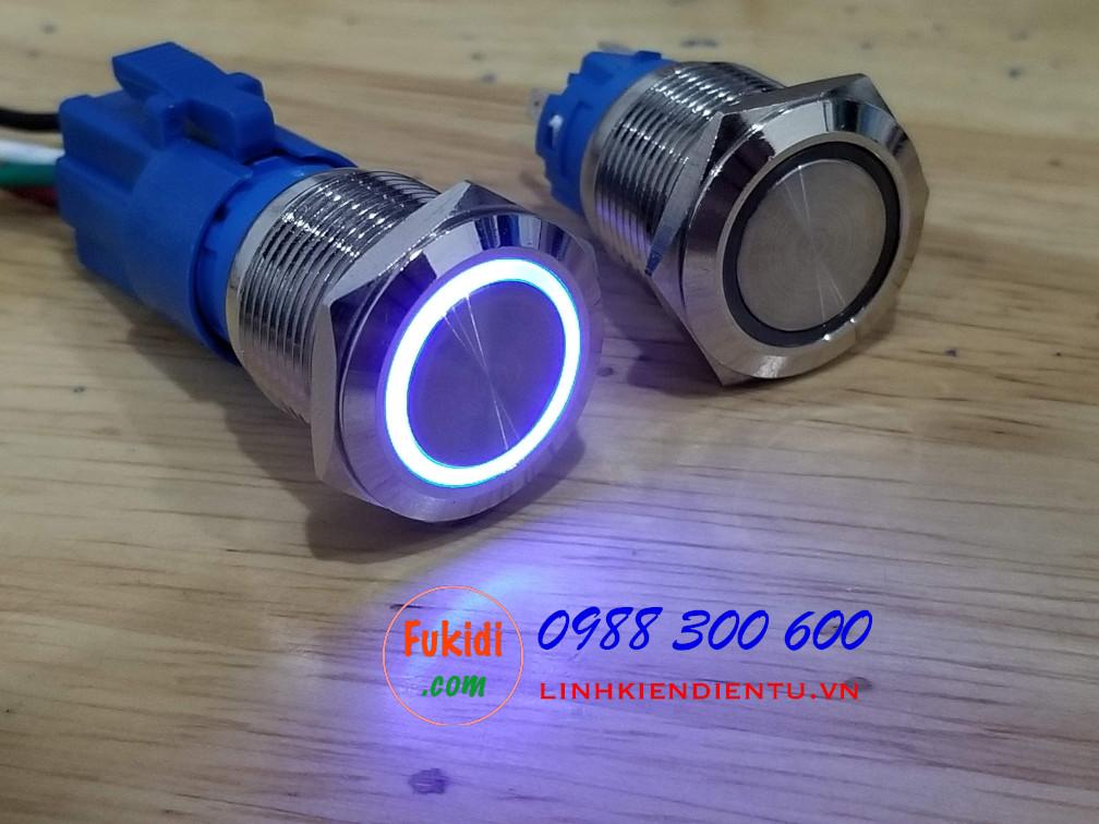 BN1924B - Nút reset có đèn, vỏ inox, phi 19mm, 24v đèn LED xanh lục