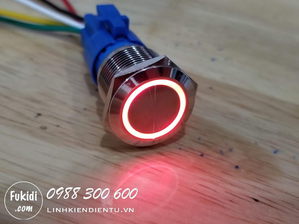 BN1924R - Nút nhấn nhả có đèn, vỏ inox, phi 19mm, 24v đèn LED hình tròn màu đỏ