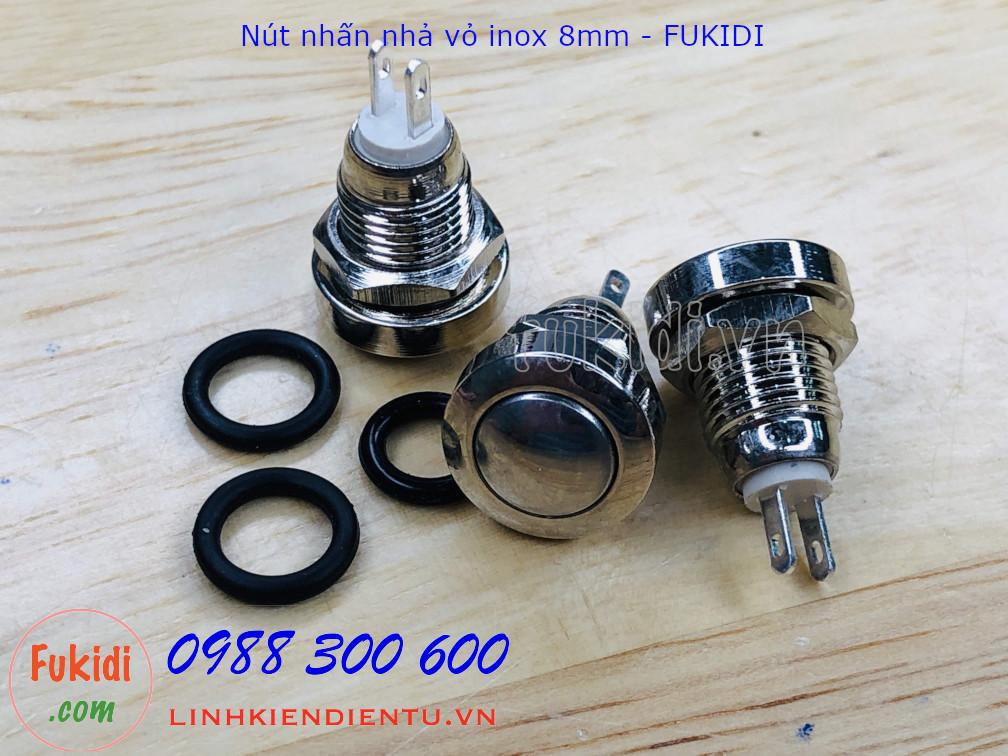BN8HC Nút nhấn nhả phi 8mm, vỏ kim inox cao cấp, chống nước IP65
