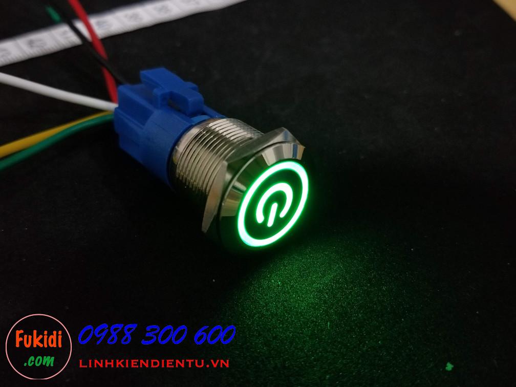 BN1924PG - Nút nhấn nhả có đèn, vỏ inox, phi 19mm, 24v đèn LED hình nút nguồn màu xanh lá