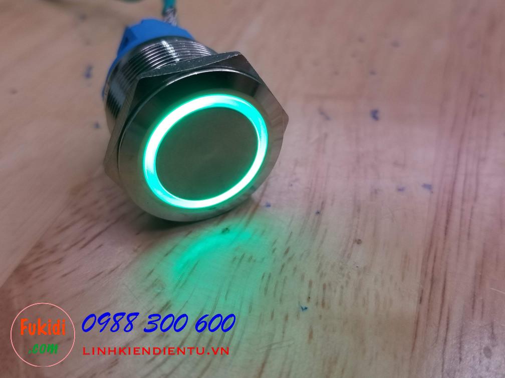 Nút reset vỏ inox, điện áp 12-24V, phi 22mm có đèn màu xanh lá BN2224G