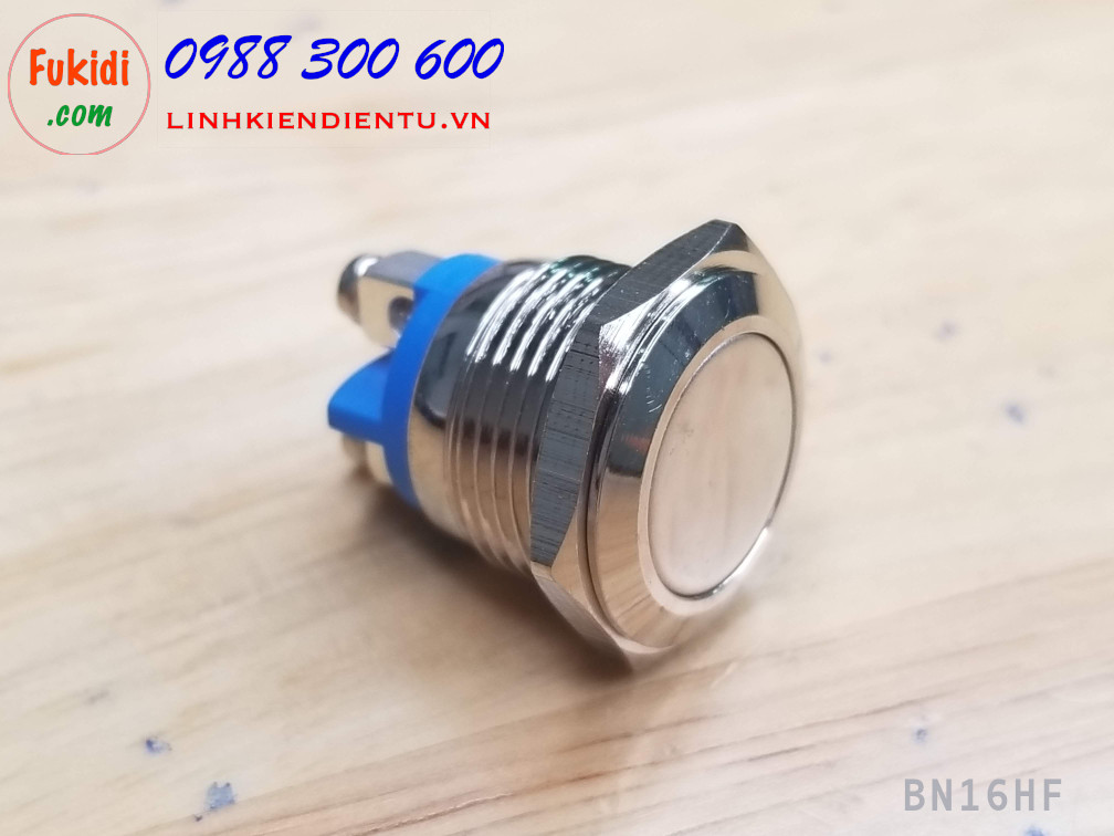 BN16HF - Nút nhấn nhả vỏ kim loại phi 16mm đầu nút phẳng, dây bắt vít