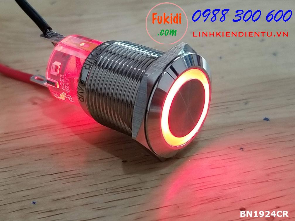 Nút nhấn nhả có đèn phi 19mm, vỏ kim loại, đế trong suốt, đèn LED đỏ 24V BN1924CR