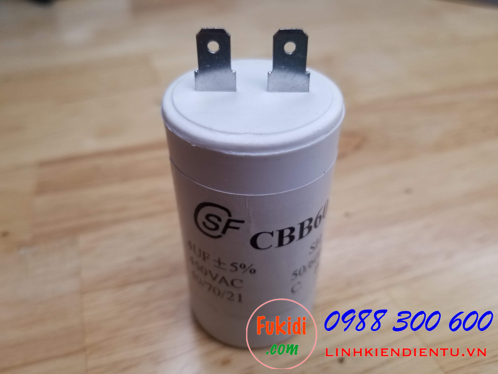 Tụ CBB60 4uF 450VAC size 34.5x63mm
