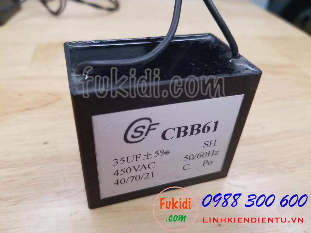 Tụ CBB61 35uF 450V size 59x49x35mm