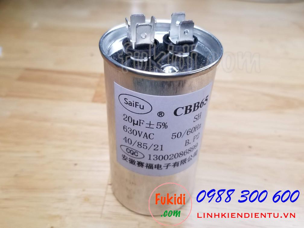 Tụ CBB65 20uF 630VAC size 50x90mm