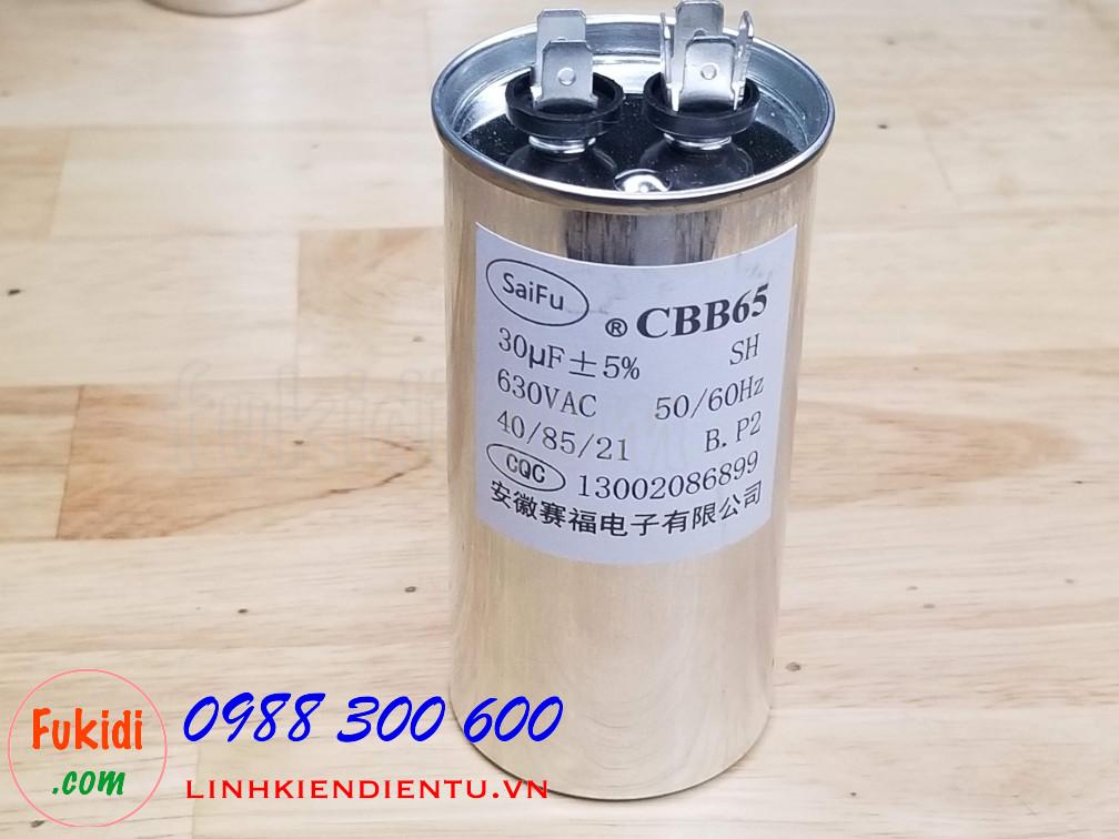 Tụ CBB65 30uF 630VAC size 50x100mm