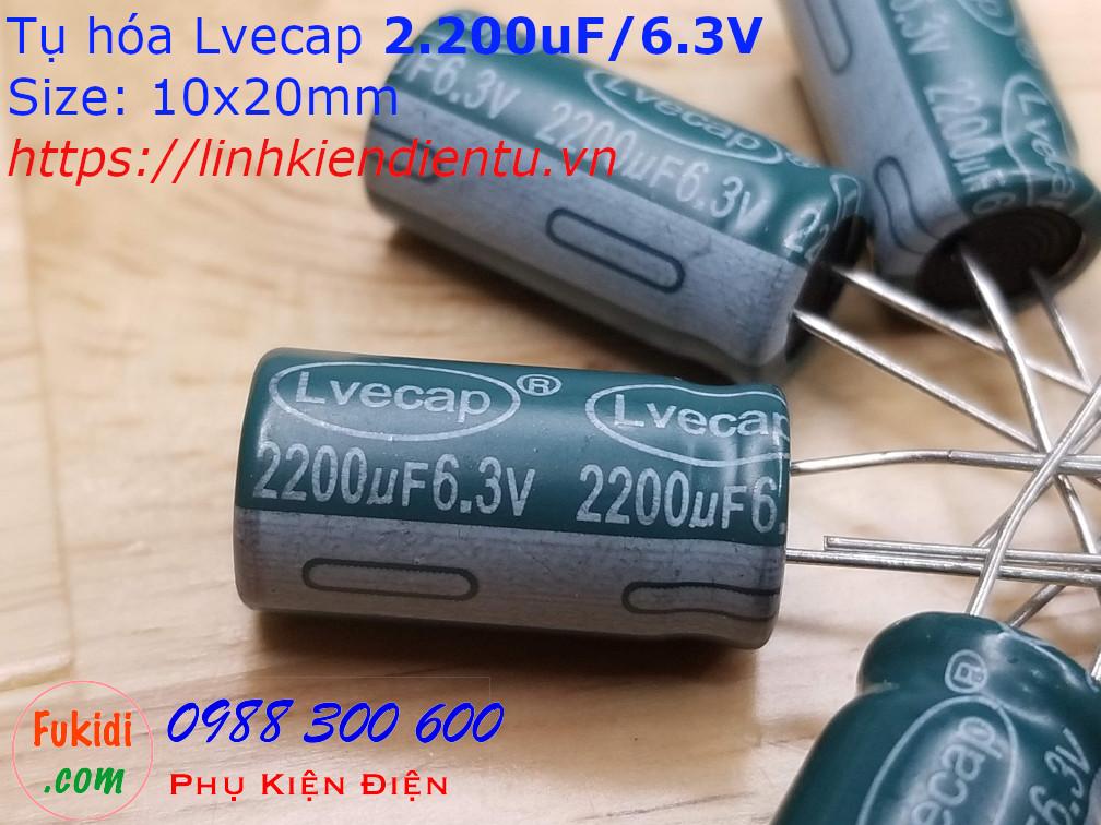 Tụ hóa 2200uF 6.3V size 10x20mm 2.200uF/6.3V