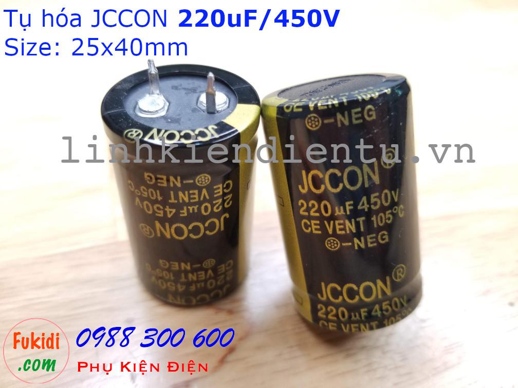 Tụ hóa JCCON 220uF 450V size 25x40mm